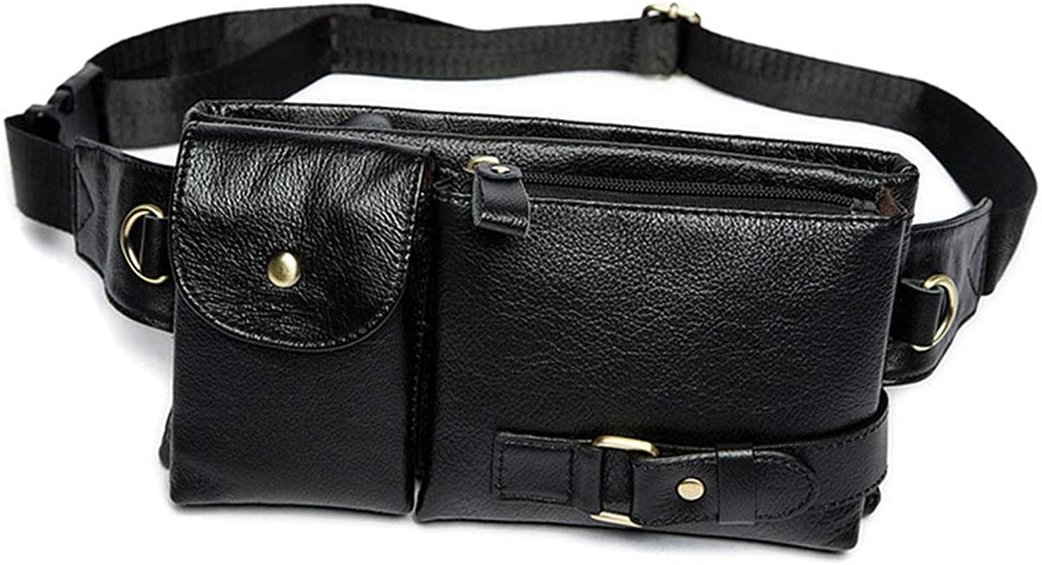 Travel Fanny Bag Waist Pack Unisex Leather Fanny Waist Pack Travel Casual Running Hiking Cycling Climbing Outdoor Sports Zipper Bum Bag Fanny Pack for Men Women (color   Black)