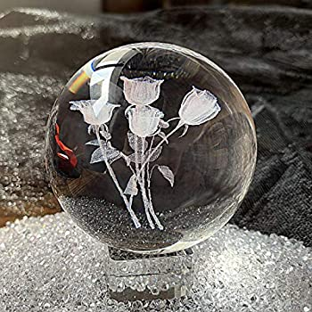 Crystal 2.4 inch  60mm  Rose Bouquet Crystal Ball with Free Glass Stand,Fengshui Glass Ball Home Decoration