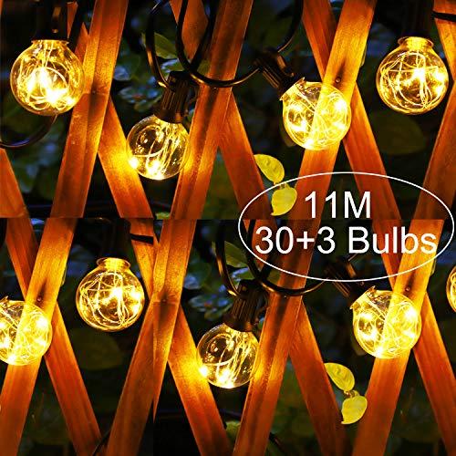 Aimosen Guirnalda Luces Exterior, 11M 165 LEDs Guirnaldas Luminosas de Exterior con G40 30 +3 Bombilla de Repuesto IP44 Impermeable Perefcto Para Fiesta Boda Jardín Patio Cafe Balcón Bianco Caldo