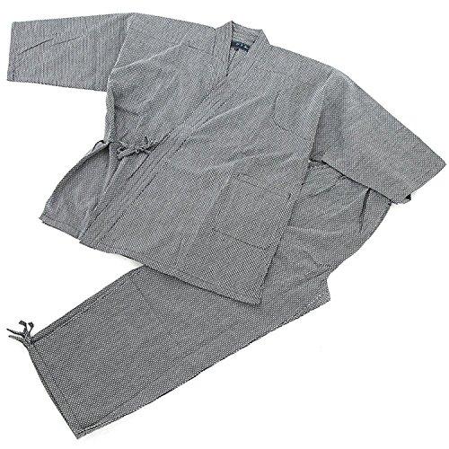 Edoten Samue Arbeitskleidung Herren Japan Kimono Quilt Sashiko (Traditionelle japanische Handstickerei) Arbeitskleidung DIY Jacke Hose Gr. M, Schwarz