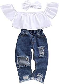 Toddler Girl Clothes Long Sleeve Ruffle T-Shirt Yellow Top Denim Pants Ripped Jeans 2PCS Outfits Set Fall Girl Clothes