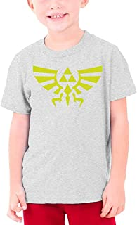 guoweiweiB Camisetas de Manga Corta para niño, The Legend of Zelda Hyrule Crest Teenage Round Neck T-Shirt for Girls Boys