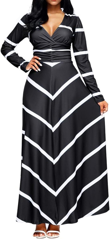 LightlyKiss Women's Long Sleeve Stripe Casual Flowy Floor Length Elastic Party Dresses
