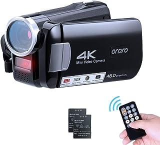 ORDRO AC2 4K ビデオカメラ デジタルビデオカメラ カテゴリ ビデオカメラ YouTubeカメラ vlogカメラ 30倍デジタルズーム 3インチタッチモニター IR暗視機能 Webカメラ タイムラプス撮影 予備バッテリー 日本語説明書