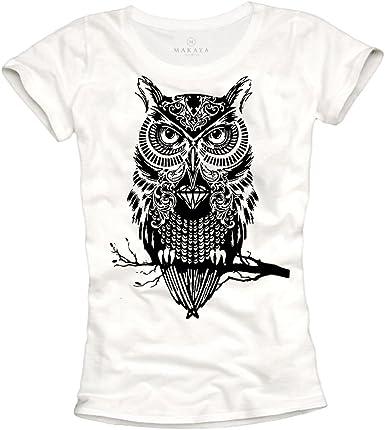 MAKAYA Camisetas chulas Mujer - Lechuza