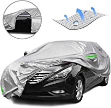 Tecoom SSD01 Breathable Material Door Shape Zipper Design Waterproof UV-Proof Windproof Car Cover with Storage and Lock for All Weather Indoor Outdoor Fit 160-172 inches Hatchback
