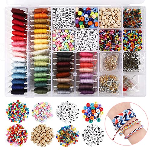 Friendship Bracelet Making Kit, 48 Multicolor Embroidery Floss, Letter Beads, Seed Beads, Spacer Beads for Friendship Bracelets, Crafts and Jewelry Making