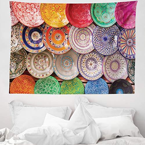 ABAKUHAUS marroquí Tapiz de Pared y Cubrecama Suave, Colorido Tradicional, Lavable Colores Firmes, 150 x 110 cm, Multicolor