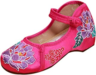 Yefree Fille Chaussures brodées en Couleur Unie de Chaussures de Marche Basses Chaussures de Danse