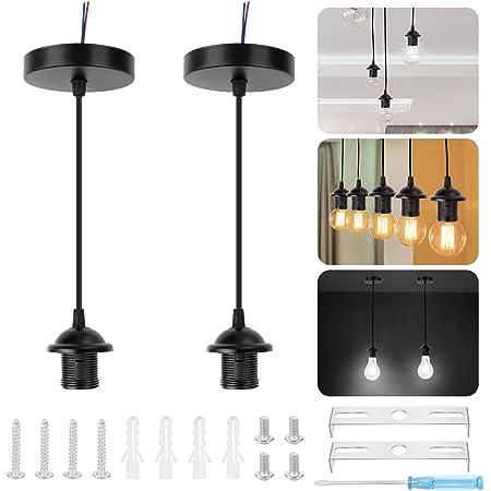 Douille de Lampe Suspension 2 Pcs Support de Lampe Porte-Lampe E27 Base de Lampe Vintage avec Câble Électrique Monture de Lampe Supension Plafond pour Maison Jardin avec Accessoire d'Installation