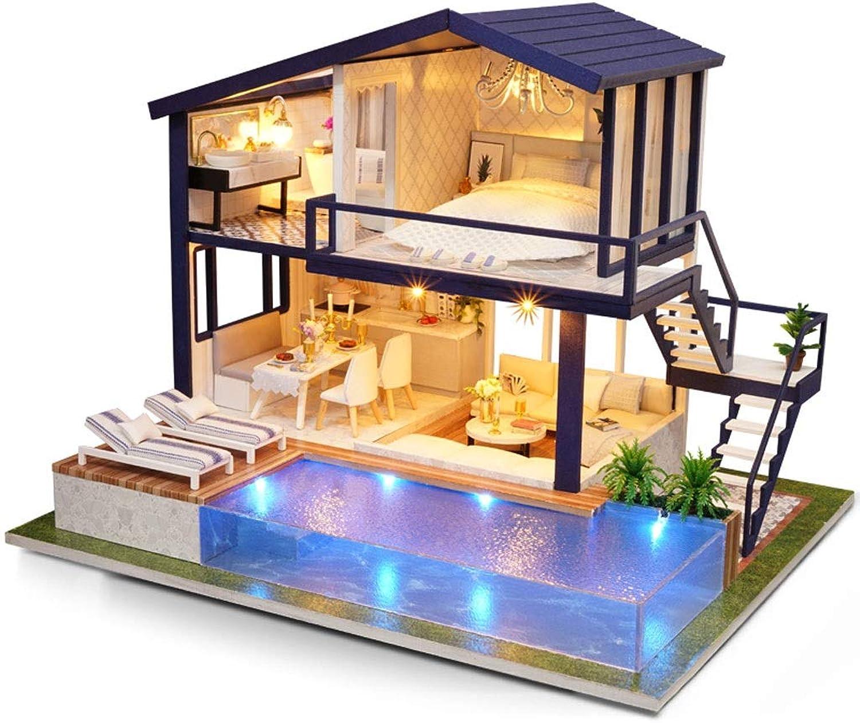 Evav Puppenhaus Miniatur DIY Haus Kit, Hand zusammengebaut pdagogisches Spielzeug Gebude Modell Geburtstagsgeschenk - Zeit Wohnung (gre   29×24×21.5cm)