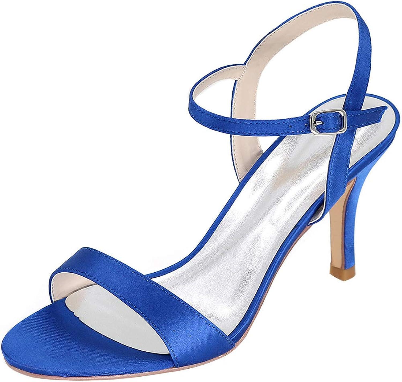 Damen Heels Satin Sandalen Knchel offene Zehe High Heel Party Abend Prom Schuhe