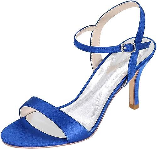 HLG Femmes talons sandales en satin satin cheville bout ouvert talons hauts soirée soirée chaussures de bal  de gros