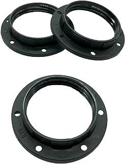 3 anillos roscados E27 de plástico negro para portalámparas anillo con dos roscas para pantallas de lámpara o elementos de cristal