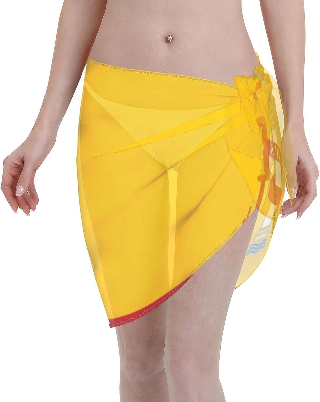 Spain Flag Women Short Sarongs Beach Wrap, Beach Cover-Ups High Waisted Wrap Skirt with Slit,Sexy Sheer Swimsuit Bikini Wraps Chiffon,Soft Scarf for Swimwear Black