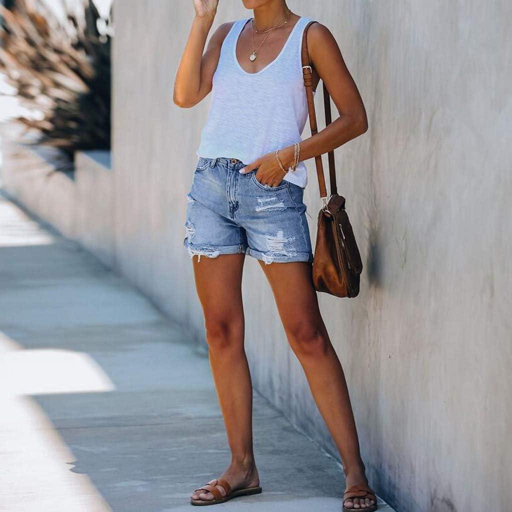 HCNTES Denim Shorts for Women,Women's Summer Slim Mid Rise Rolled Hem Distressed Jeans Ripped Denim Shorts