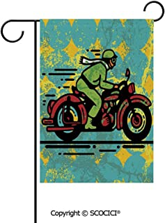 SCOCICI Double Sided Washable Customized Unique 12×18(in) Garden Flag A Young Man Vintage Motorbike Grunge Distressed Dirty Featured Funky Art Illustration,Multi,Flag Pole NOT Included