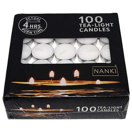 Nanki Trades Round Wax Tea Light Candles (3.7 cm x 3.7 cm x 1.2 cm, White, Set of 100)