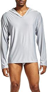 usmley Mens Ice Seta - Sudadera con capucha de manga larga para deporte, yoga, camisas con capucha