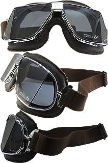 Pacific Coast Nannini Custom Padded Motorcycle Goggles Hand-Sewn Brown Leather/Chrome Frames Grey Anti-Fog Lenses