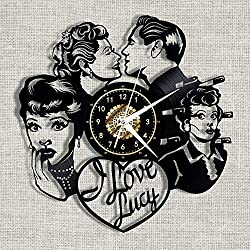 Tyannan Gulakey Noiseless I Love Lucy Black Vinyl Record Retro Wall Clock Home Decor 12 Inch with Led Light-with_Led_Light