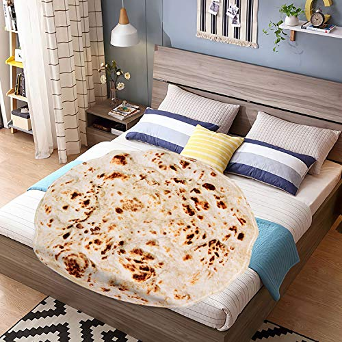 Outivity Burritos Tortillas Blanket, Novelty Giant Human Burritos Wrap Blanket, Soft Comfort Round Gag Food Blanket Throw Blanket for Adults