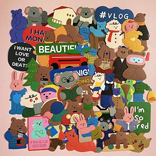 WWLL 50 Pegatinas de Dibujos Animados Lindo Oso Pegatinas Maleta portátil Pegatinas de teléfono móvil