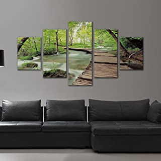 Forest Landscape Modern 5 Panels Stretched and Framed Giclee Canvas Prints Artwork Bridge and Stream Pictures Paintings on...