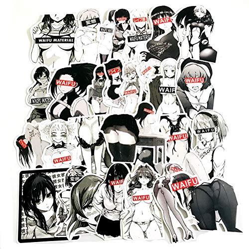 YYSND 30 Buitenkleding Zwart Wit Bunny Meisje Graffiti Stickers Cartoon Persoonlijkheid Koffer Fiets Gitaar Auto Waterdichte Stickers