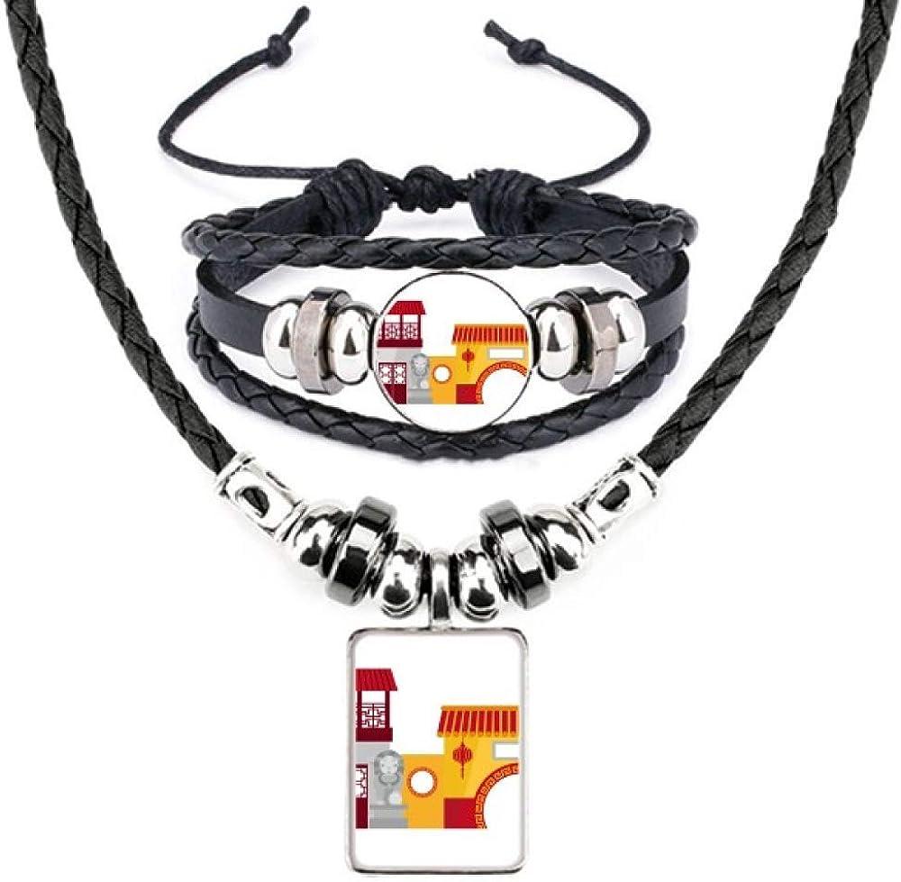 China Architecture Chinese Pattern Leather Necklace Bracelet Jewelry Set