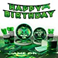 Decorlife Video Game Party Supplies Serves 24, Cute Gamer Birthday Decorations for Boys, Complete Pack Include Tablecloth, Popcorn Boxes, Green, Total 200pcs by decorlife