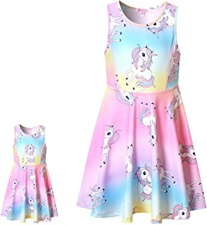 """Matching Girls & Doll Dresses Sleeveless Unicorn Outfits Clothes Fits 18"""" Dolls"""