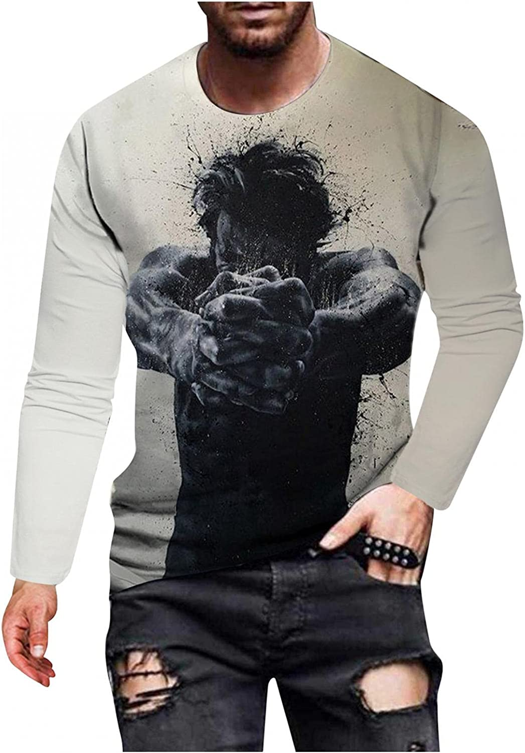 Men's T-Shirts Long Sleeve Graphic Vintage Pullover Tops Tie Dye Lightweight Tee for Outwear Athletic Workout