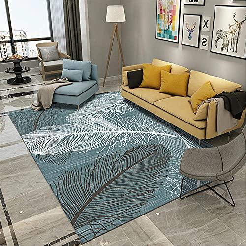 La Alfombra Sofas de Salon Alfombra Alfombra Moderna con patrón de Plumas de Graffiti Minimalista Azul Blanco Negro alfombras para Habitaciones Juveniles Comedor Modernos alfombras 160*230cm