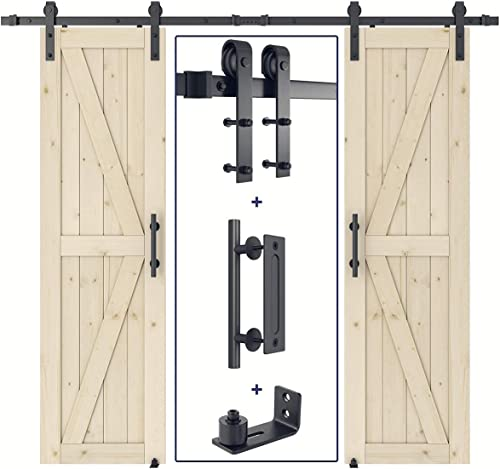 new arrival SMARTSTANDARD 24in x 84in Double Sliding Barn Door Whole Kit with J Shape 8ft Barn Door Hardware outlet sale Kit & 2021 Handle, Pre-Drilled Ready to Assemble, DIY Unfinished Solid Spruce Wood Panelled Slab, K-Frame online sale