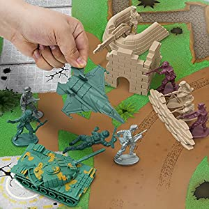 Tiny Troopers Army Men Big Battle Drum Playset (260 pcs) - Deluxe Plastic Toy Military Set Includes Green & Tan Armies of Soldiers, WW2 Tanks, Jets, Walls, Helicopters, Provisions, Playmat, & More