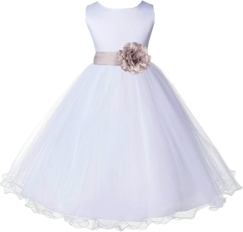 ekidsbridal New product Limited price sale White Tulle Rattail Edge Flower Dress Wedding T Girl