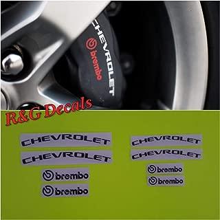 R&G BREMBO Brake Caliper HIGH TEMP Decal Sticker Set of 8 Decals (Black)