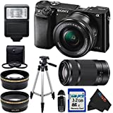Sony Alpha a6000 ILCE6000 Interchangeable Lens Camera with 16-50mm Power Zoom Lens & Sony E 55-210mm F4.5-6.3 OSS Lens (Silver) + Pixi-Basic Accessory Bundle