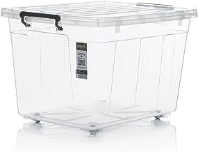 HOUZE SB-1103 Storage Box with Wheels, Transparent, 77L