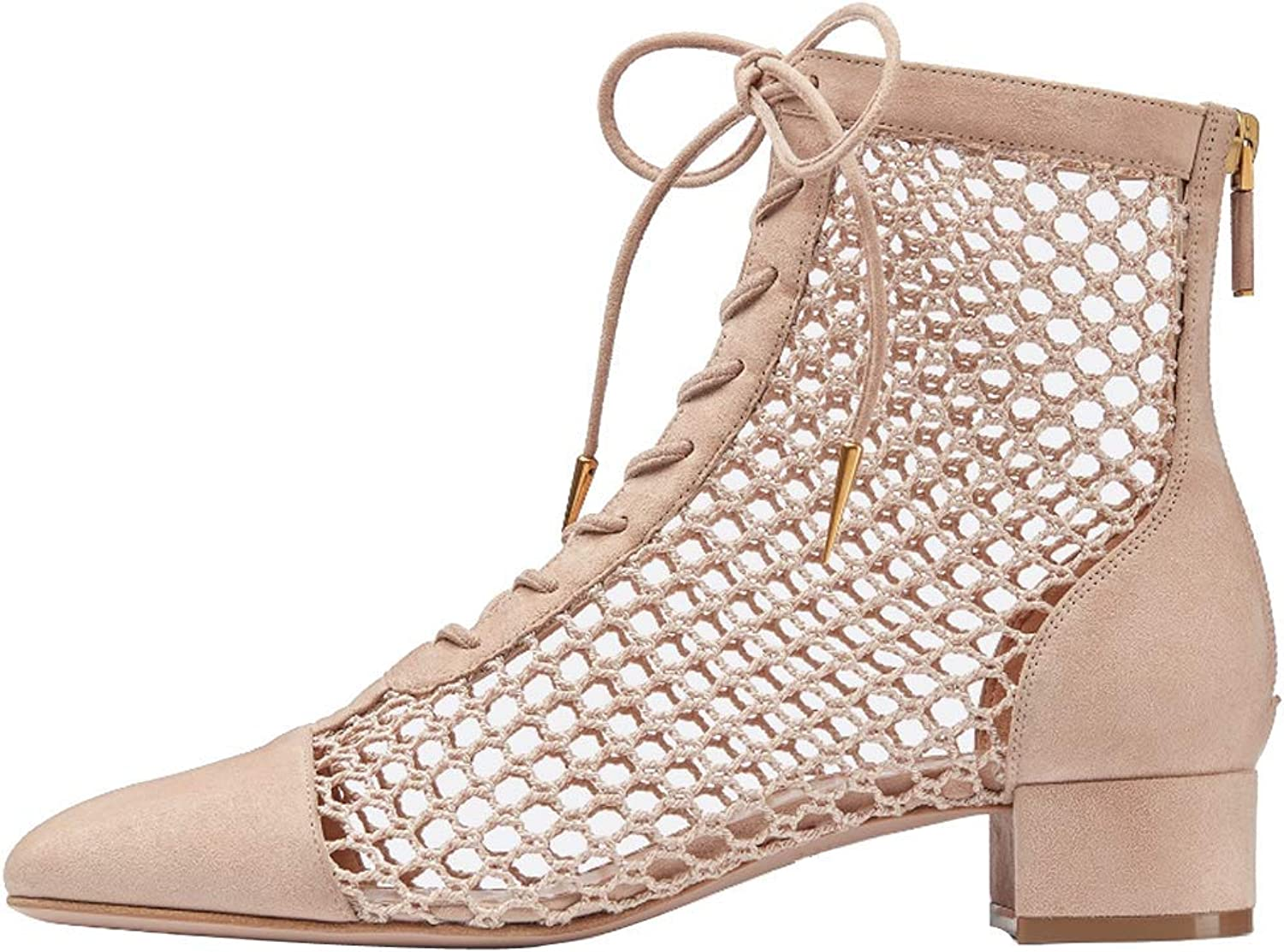 Themost Hollow Ankle Boots, Lace Up Low Heel Chunky Boot Zipper Summer Booties