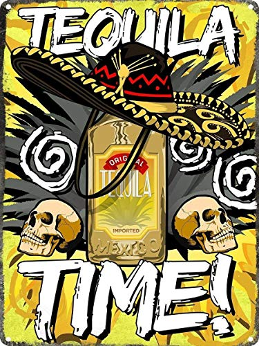 TEQUILA TIME TIN Metall Blechschild Retro Metall gemalt Kunst Poster Dekoration Plaque Warnung Bar Cafe Garage Party Game Room Hauptdekoration