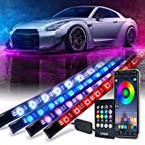 [Upgraded]Xprite RGB Car Underglow Bluetooth Lights Kit, Underbody Neon Accent Exterior Cars LED Chasing Glow Light Strip w/ APP Control & Wireless Remote, for Vehicle SUV RV Trucks Pickups Boats-4PCS