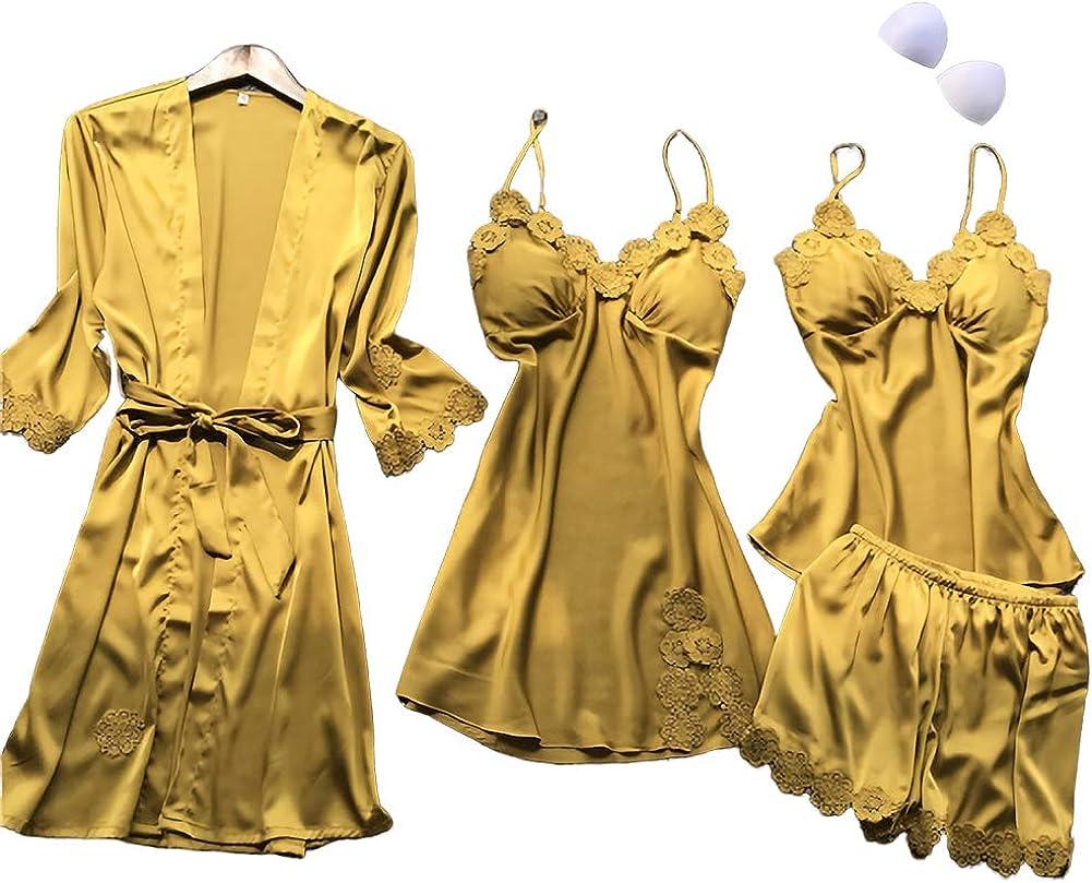 SAPJON Women's 4pcs Silk Satin Pajama Set Sexy Cami Top Nightgown Lace Sleepwear Robe Sets Nightdress with Chest Pads