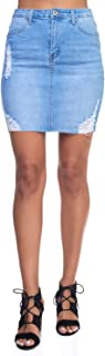 Calilogo Women's Junior Denim Jean Distress Mini Skirt