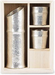 能作 竹型酒器セット(片口H17.0cmφ5.5cm 約220cc ぐい呑みH5.0cmφ4.8cm 約50cc) 日本製 錫100% 桐箱入 501300/酒器
