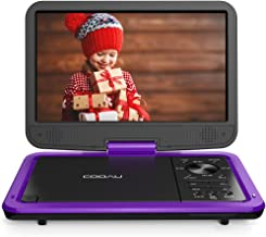 """COOAU 12.5"""" Portable DVD Player with HD Swivel Screen, 5 Hours Built-in Rechargeable Battery, Region Free, Support USB/SD Card, 3.5mm Audio Jack, Remote Control, Resume Playback, Purple"""