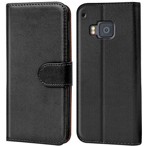 Verco One M9 Hülle, Handyhülle für HTC One M9 Tasche PU Leder Flip Hülle Brieftasche - Schwarz