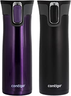 Contigo Autoseal West Loop 2.0 - Vacuum Insulated Stainless Steel Thermal Coffee Travel Mug - Keeps Drinks Hot or Cold for Hours - Fits Under Single-Serve Brewers- 20 Ounces, Violet and Matte Black