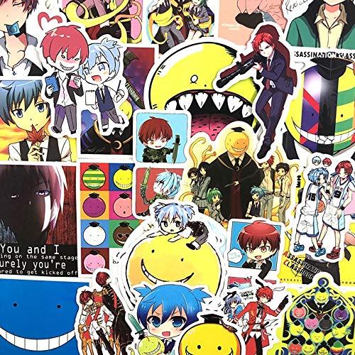FENGLING Japón Anime Asesinato Aula Pegatinas para Skate Equipaje Laptop Refrigerador Motocicleta para Niños Pegatinas 50 Unids/Set